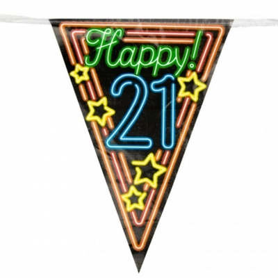 Vlaggenlijn 21 jaar Neon