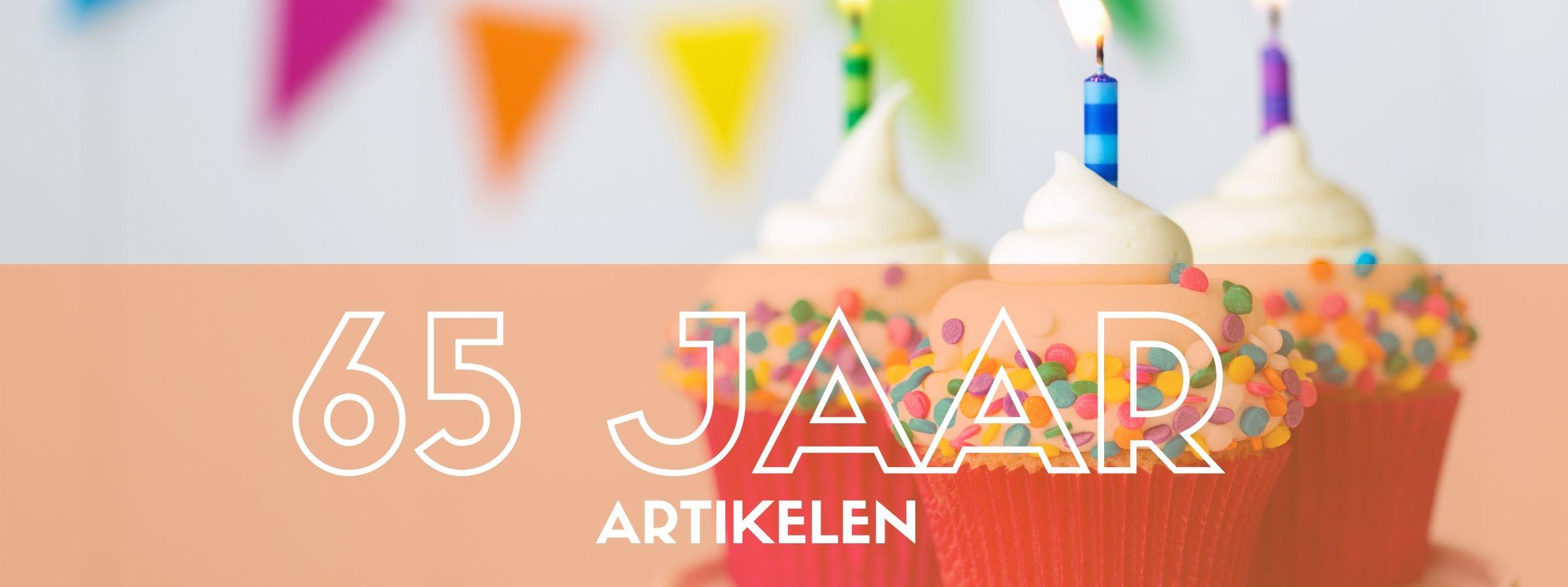 Decoratie voor een 65e verjaardag bestel je bij JB Feestartikelen